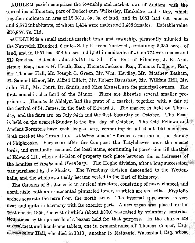 The first page of information about Audlem taken from the 1860 edition of the book History, Gazetteer and Directory of Cheshire