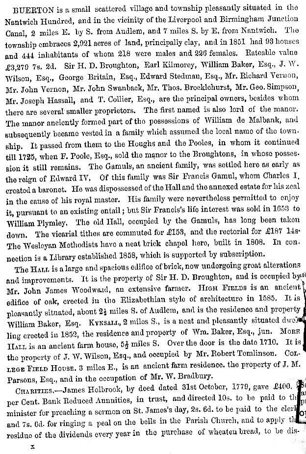 The first page of information about Buerton taken from the 1860 edition of the book History, Gazetteer and Directory of Cheshire