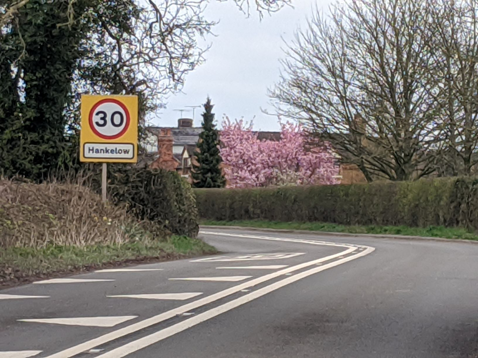 South approach to the village, 31st March 2020